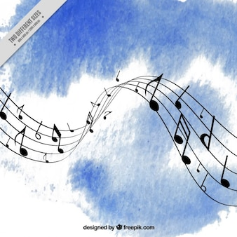 Blue watercolor music background