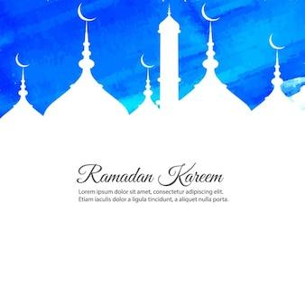Blue watercolor ramadan kareem background