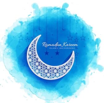 Blue watercolor ramadan kareem illustration