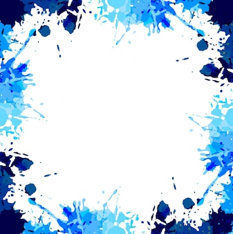 Blue watercolor splash background with space