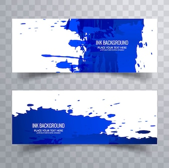 Blue watercolor splash banners