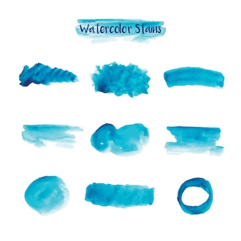 Blue watercolor stains collection