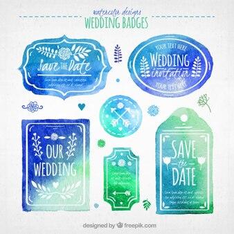 Blue watercolor wedding badges