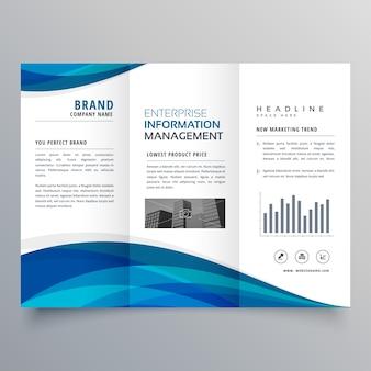 青い波trifoldビジネスパンフレットデザインテンプレート