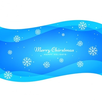 Blue waves christmas background