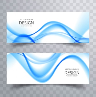 Blue wavy banners