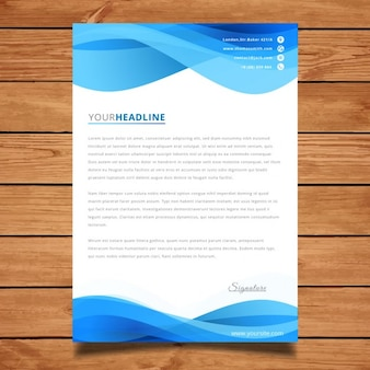 Blue wavy brochure design template