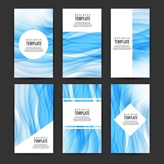 Blue wavy brochure set