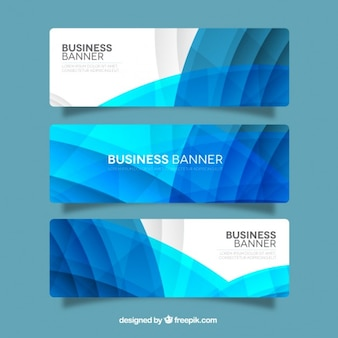 Blue wavy business banners