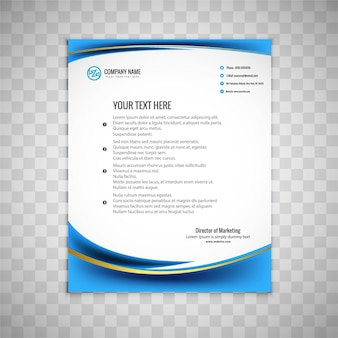 Blue wavy business brochure