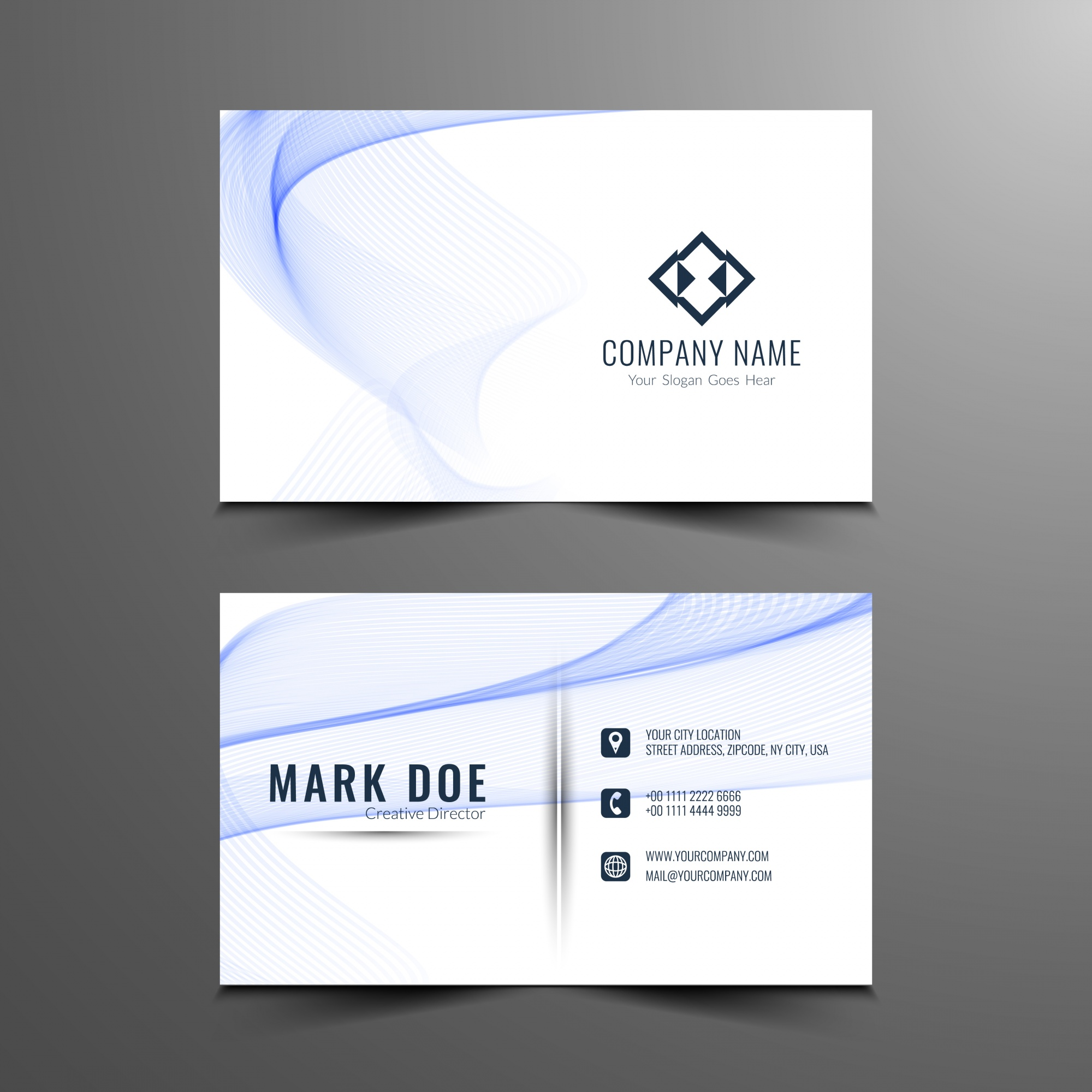 Blue wavy business card template