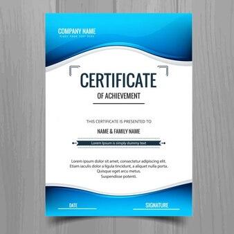Blue wavy certificate