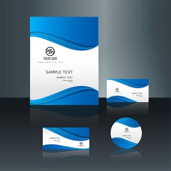 Blue wavy corporate business stationery
