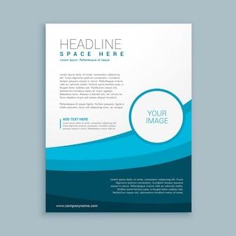 Blue wavy corporative brochure template