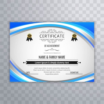 Blue wavy diploma template