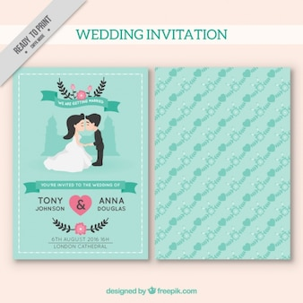 Blue wedding invitation with floral decoration
