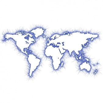 Blue world map design