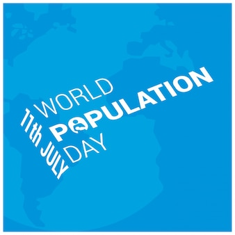 Blue world population day design with text