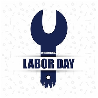 Blue wrench labor day background