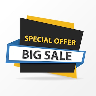 Blue, yellow and black sale banner template