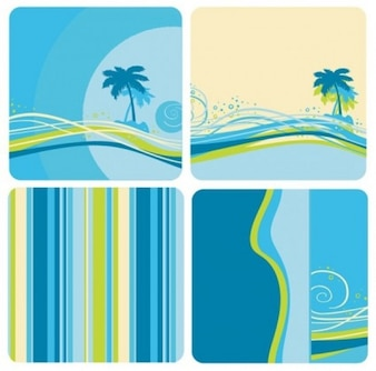 Bluegreen color background with coconut tree and lines
