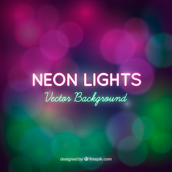 Blurred background bokeh of neon lights