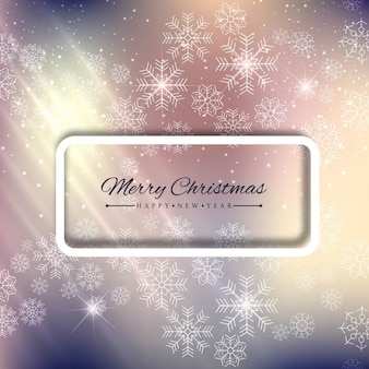 Blurred background with a frame and snowflakes
