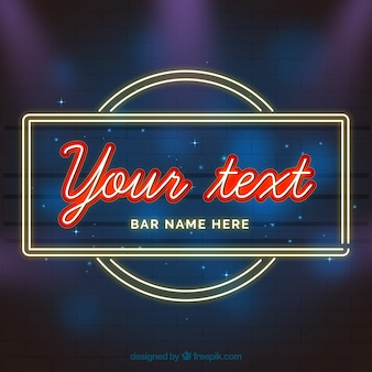 Blurred background with neon light sign