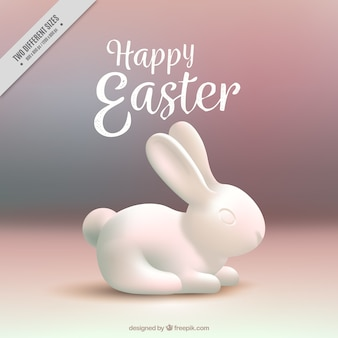 Blurred background with white easter bunny