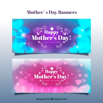 Blurred banners with hearts for mother's day