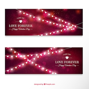 Blurred banners with lights for valentine's day