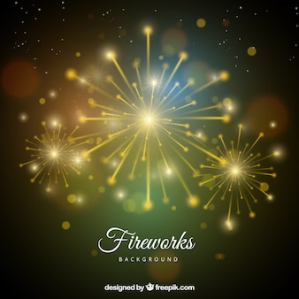 Blurred bokeh background with golden fireworks