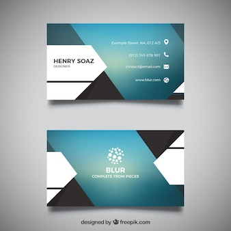 Blurred business card with geometric shapes