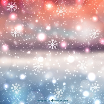 Blurred christmas background with snowflakes