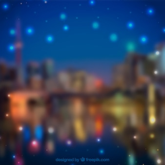 Blurred city background with bokeh effect
