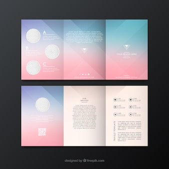 Blurred flyer template in blue and pink tones