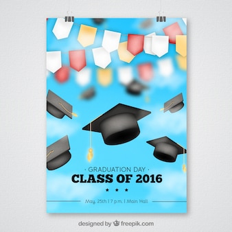 Blurred graduation party poster with garlands and graduation caps