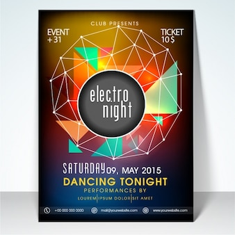 Blurred party flyer with colorful geometric shapes