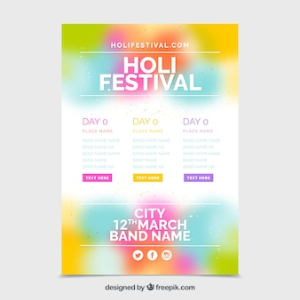 Blurred poster template for festival holi