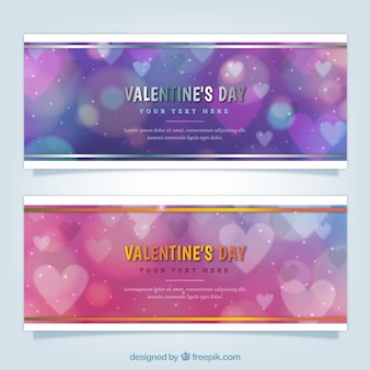 Blurred valentine's banners with bokeh effect