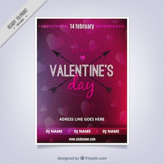 Blurred valentine's party poster with decorative hearts