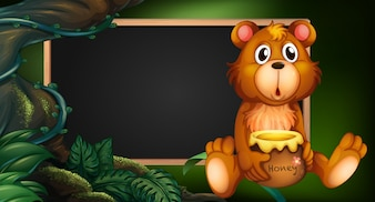 Board design with bear in forest