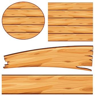 異なる形状の木製ボードによるボードデザイン
