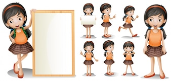 Board template with little girl in different actions
