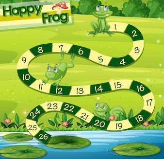 Boardgame template with green frogs in park