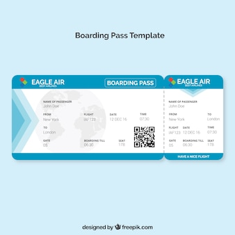 Boarding pass template with blue details