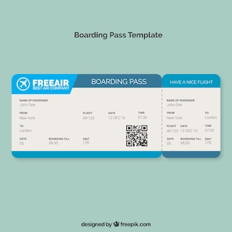 Boarding pass template with blue shapes