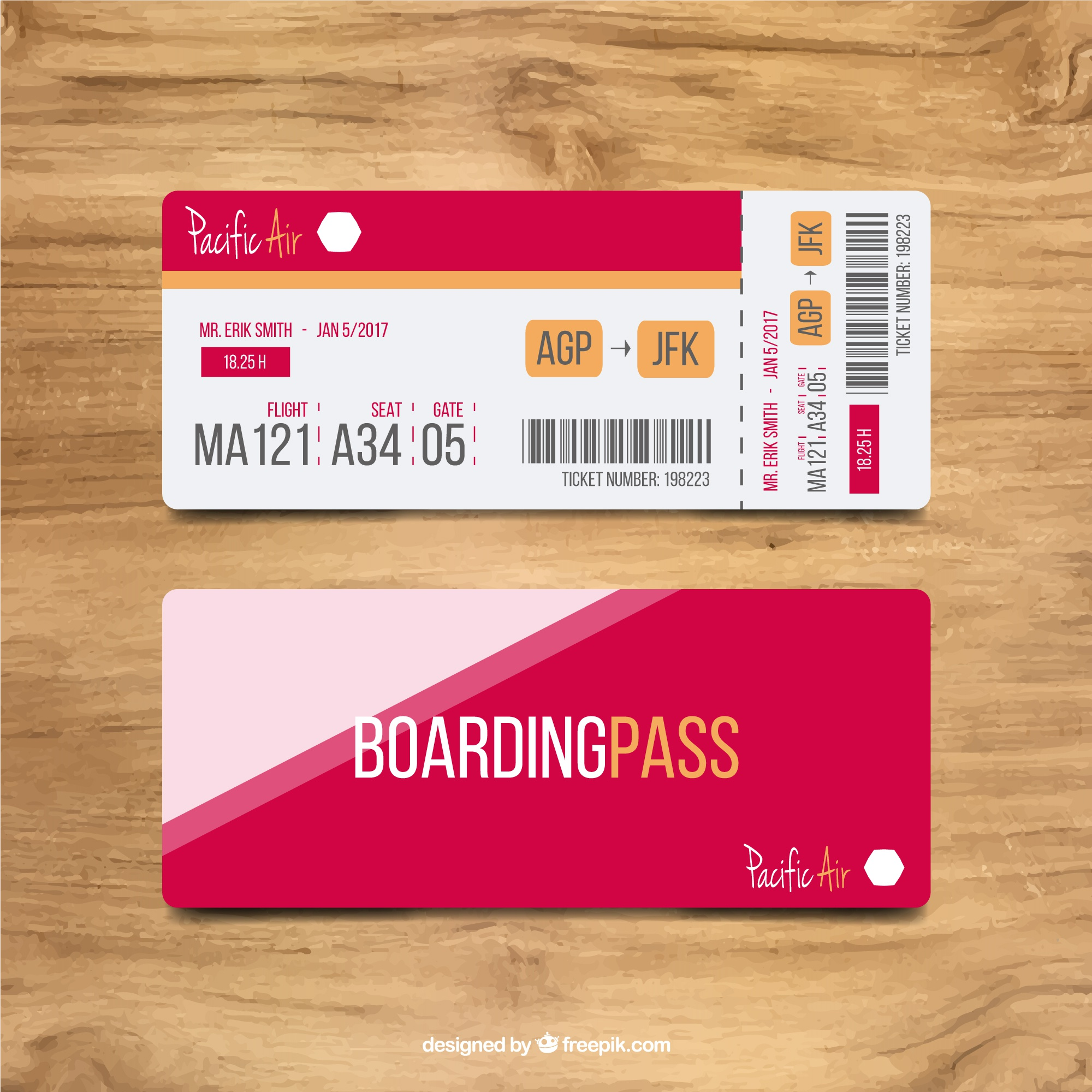 Boarding pass with color shapes