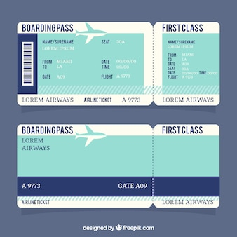Boarding pass with dark blue stripe
