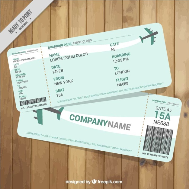 Boarding pass with green details